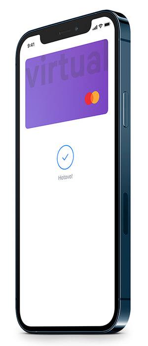 Telefon s pozadím virtuální karty