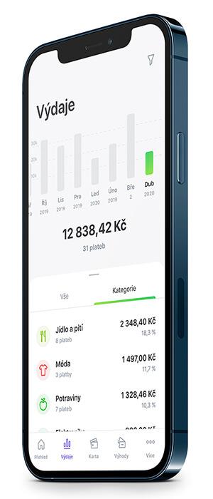 Telefon s přehlednou kategorizací výdajů v Twisto aplikaci